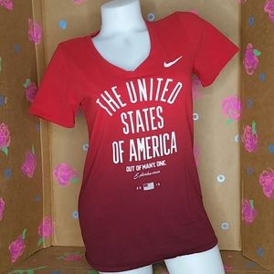 Nike USA Olympic Team Red Ombre V-Neck Tee M